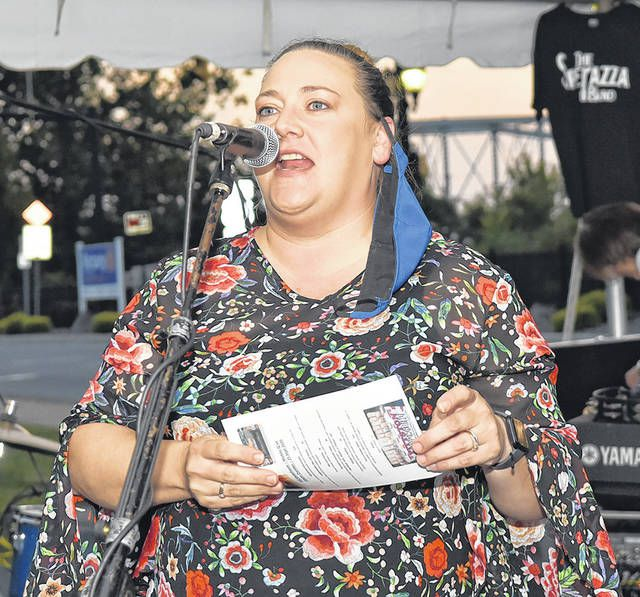 Brandi Bartush, of the Greater Pittston Chamber of Commerce, is shown thanking everyone for making the evening a success.                                  Tony Callaio | For Sunday Dispatch