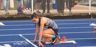 Pittston Area sprinter Lauren LoPresto gets set in the starting block during Thursday's Jordan Relays.                                  Tom Robinson | Sunday Dispatch