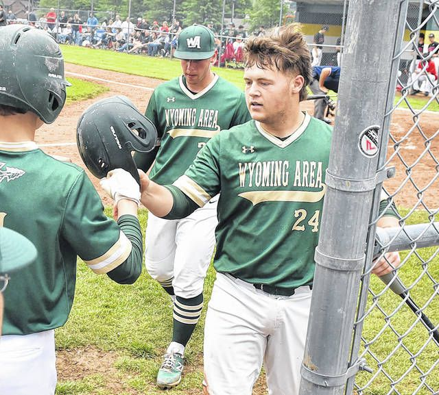 <p>Warrior catcher Jake Kelleher (24) gets congratulated after scoring a run for Wyoming Area against Honesdale.</p>                                  <p>Tony Callaio | For Times Leader</p>