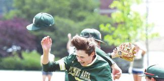 Warrior starting pitcher Hunter Lawler (behind) and Nathan Novakowski (9) jump in the air after defeating Eastern Lebanon County in PIAA AAAA quarterfinal action at DeSales University on Thursday.                                  Tony Callaio | For Times Leader