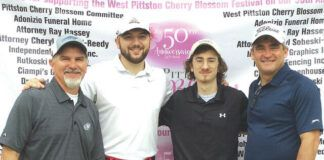 Left to right: Jerry Zezza, Jeremy Zezza, Ryan Wrubel, Jimmy Wrubel, were one of the many foursomes in the tournament honoring the 50th anniversary of the West Pittston Cherry Blossom Festival.                                  Submitted photo